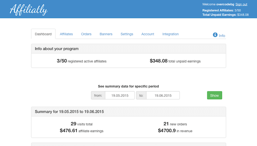 On your dashboard, you will see the main info about your affiliate program