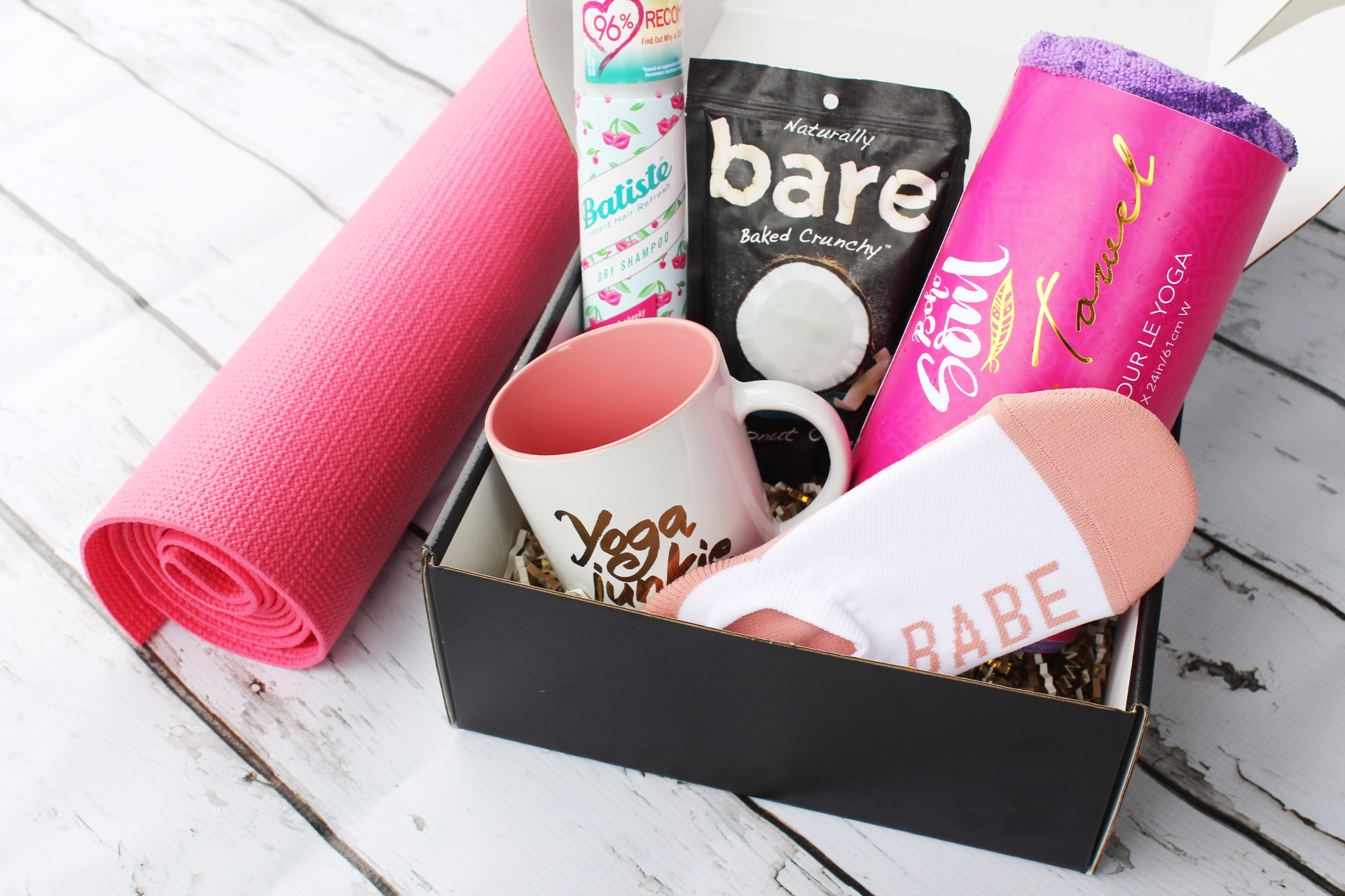 The Om Babes subscription box is a monthly yoga subscription that delivers 4-6 yoga tools, personal development and beauty products to your door for $39.95