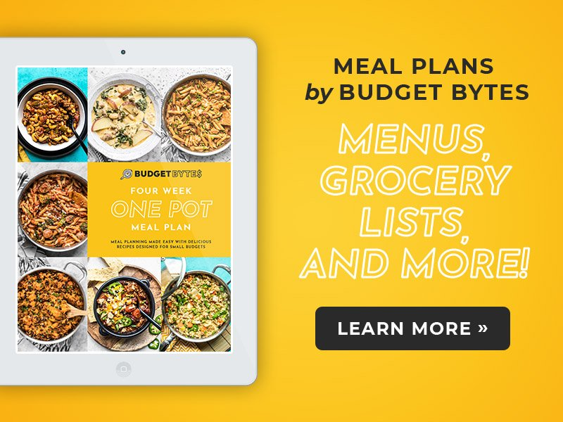 Image of One Pot Meal Plan ebook cover. Text - Meal Plans by Budget Bytes. Menus, Grocery Lists, and More. Button that says Learn More. All on yellow background.