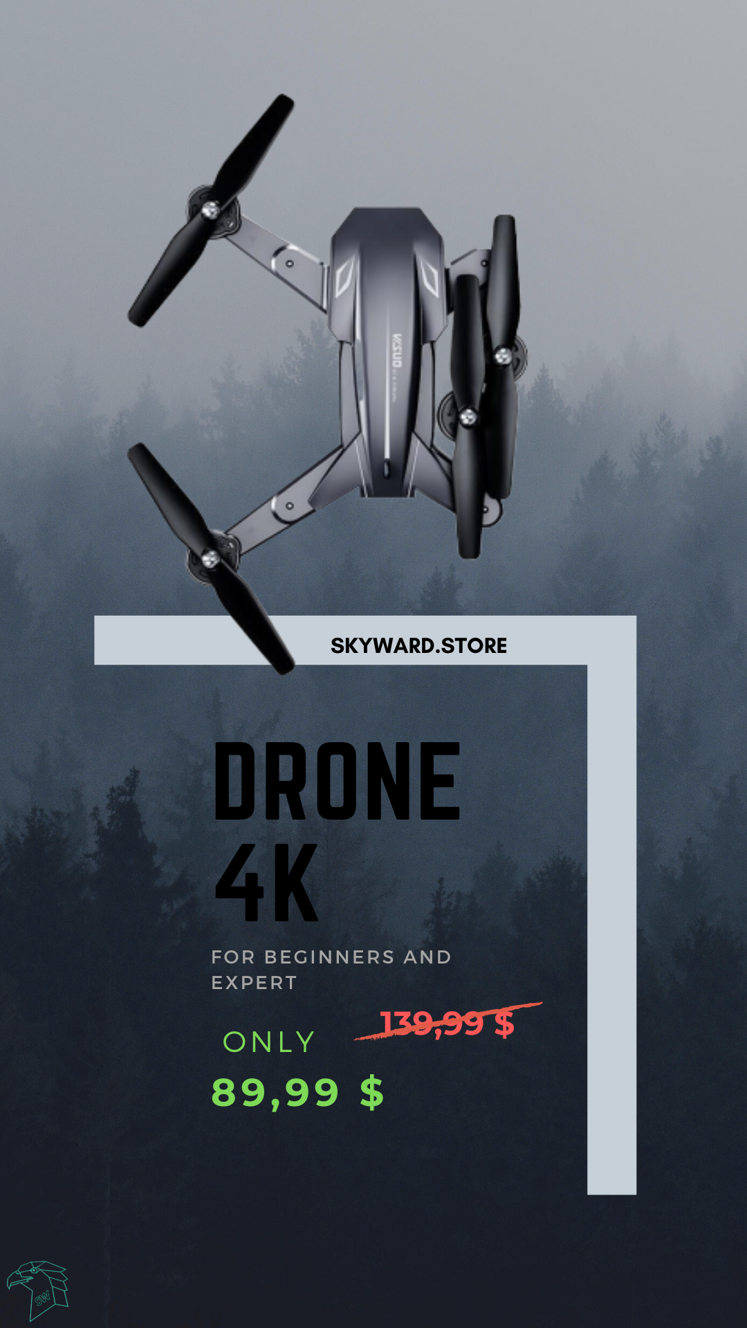 Drone with dual camera in 4k