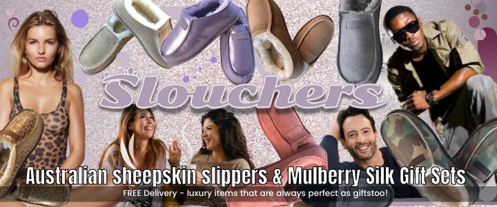 Slouchers - Modern Sheepskin Slippers & 100%Silk Gift Sets