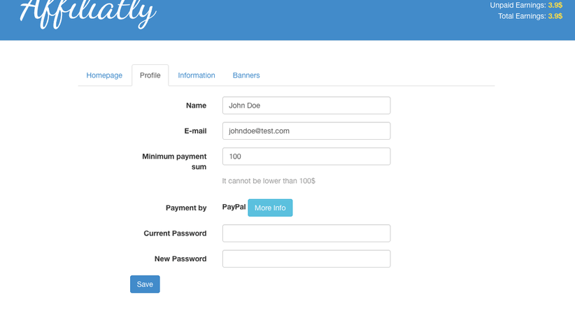 Your affiliate can choose minimum payment sum and input info for payments